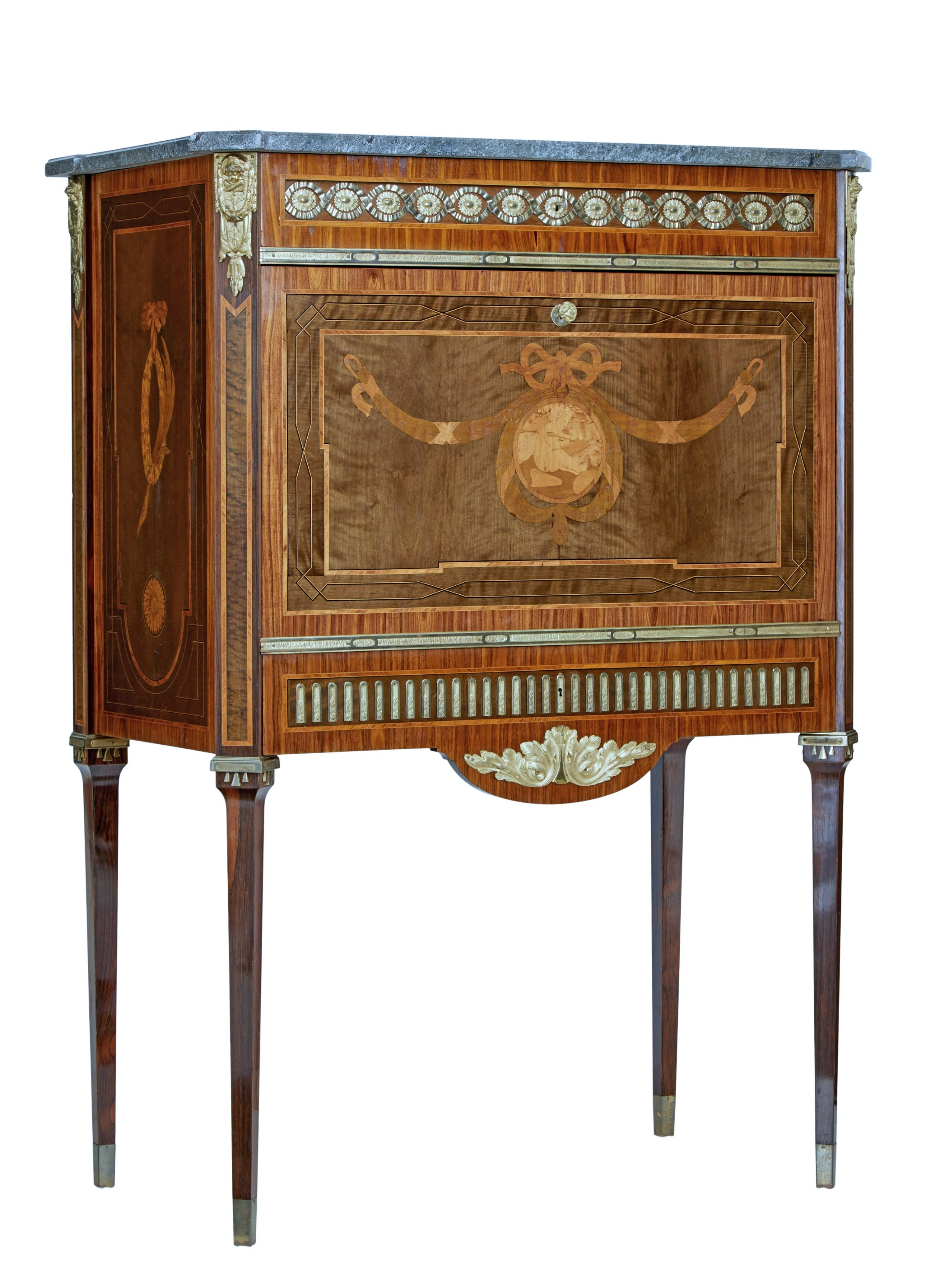 1930's kingwood inlaid swedish marble top secretaire