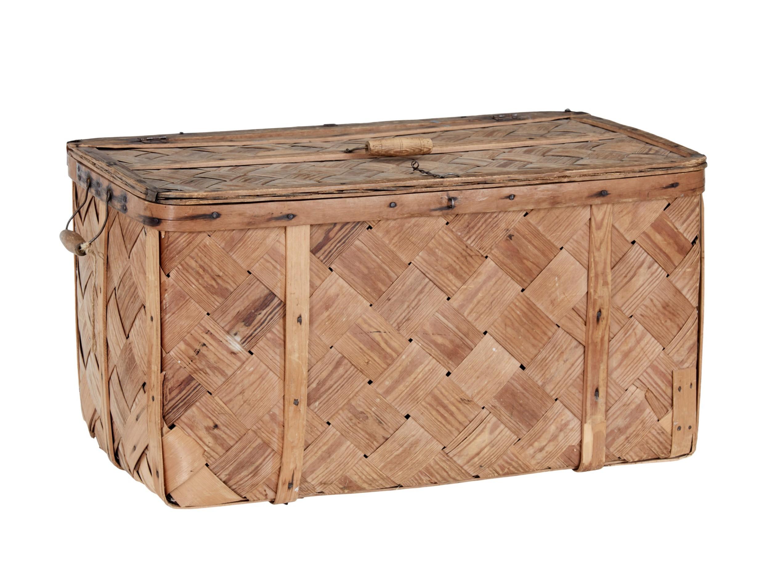 swedish 19th century woven pine basket