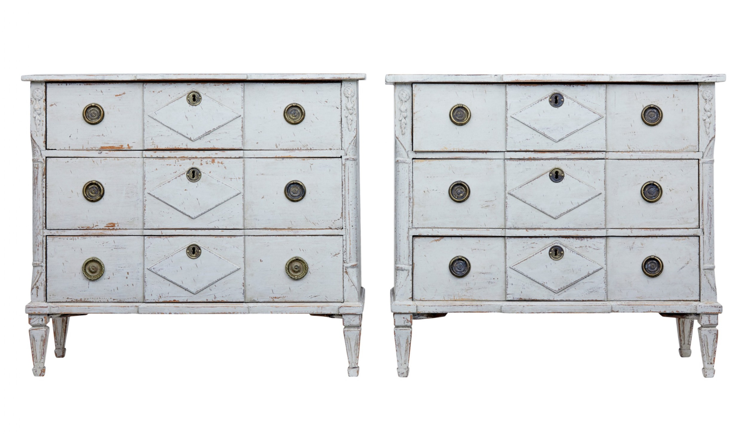 pair of 19th century swedish pine painted chest of drawers