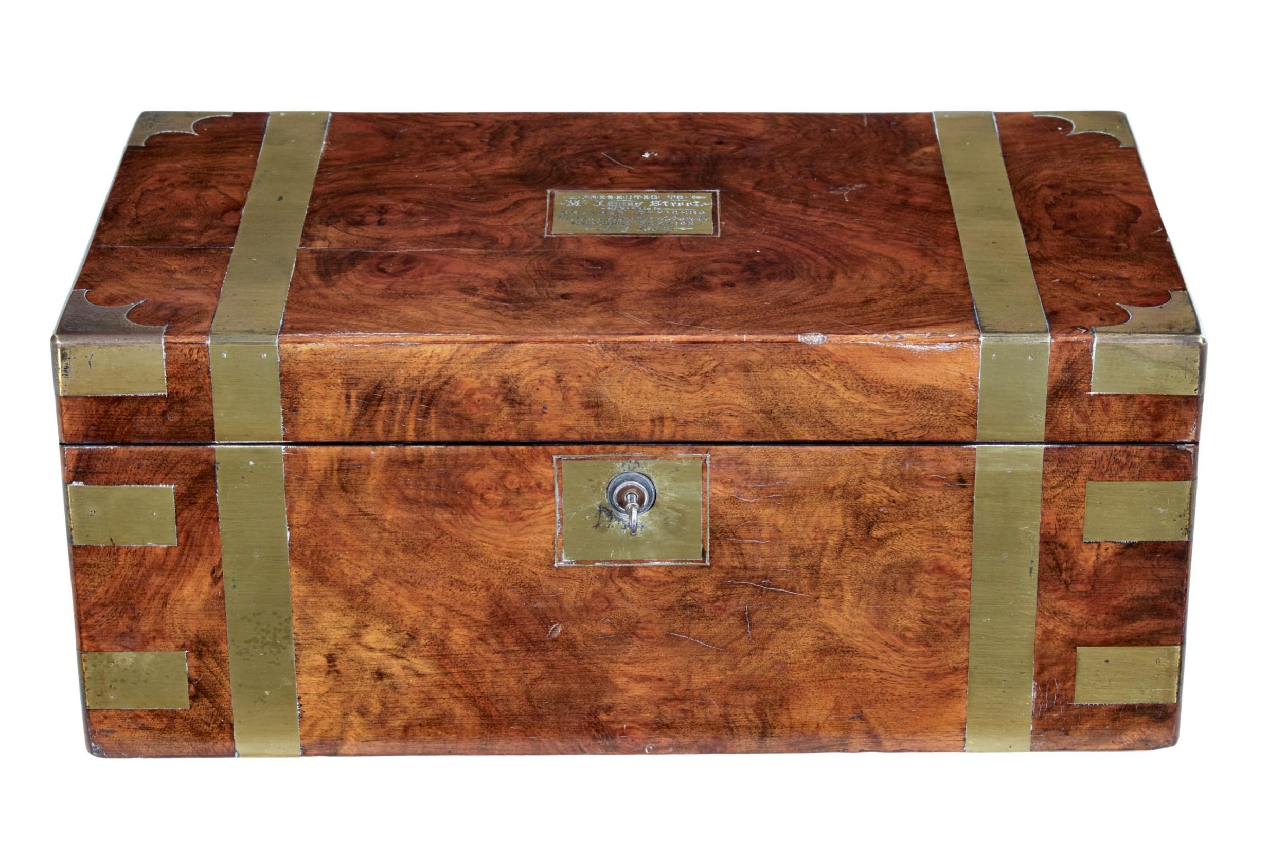 19th century brass bound mahogany writing slope