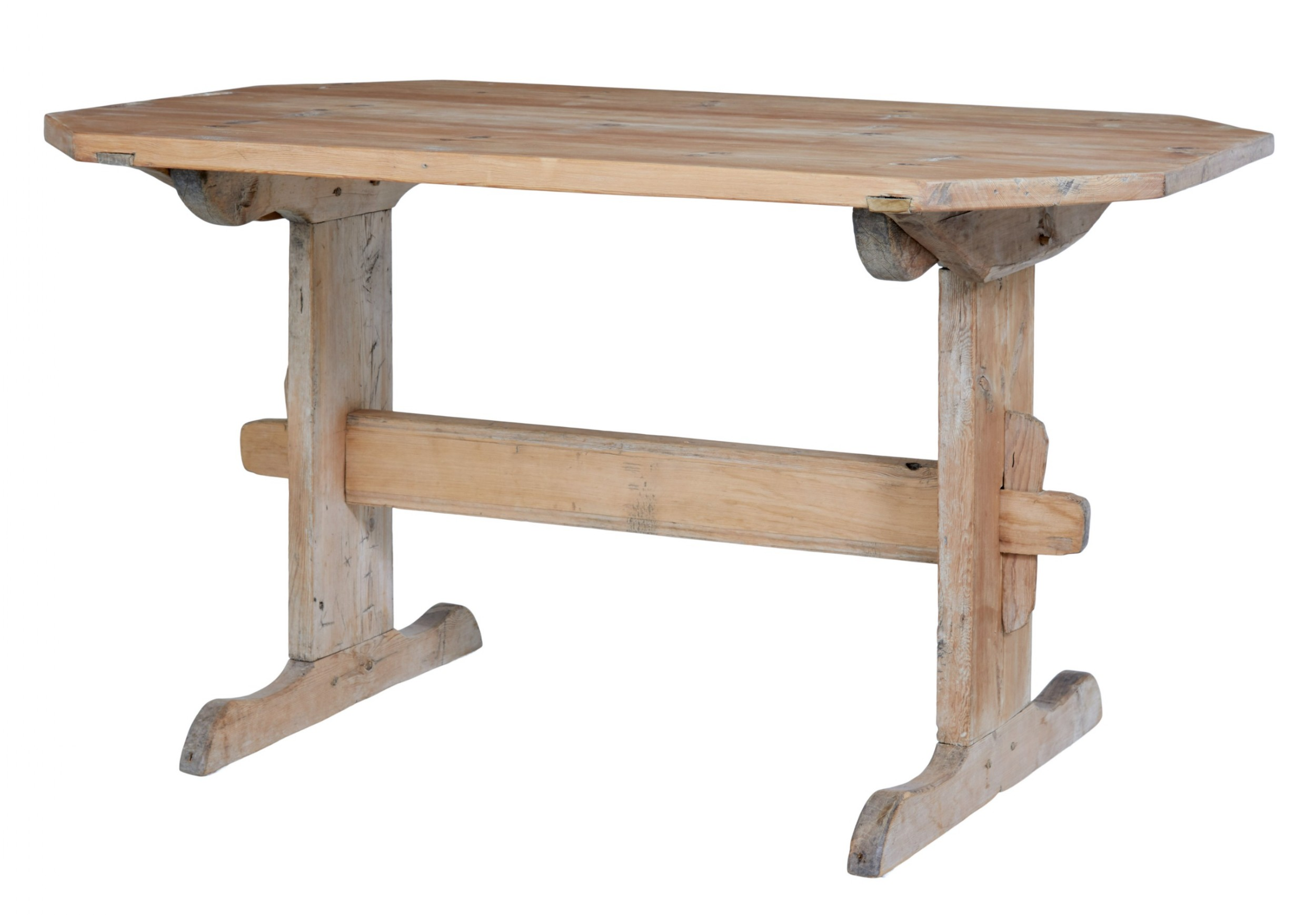mid 19th century swedish pine trestle dining table