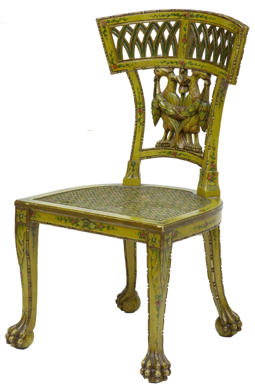 Early 19th Century Carved Painted Biedermeier Cane Seat