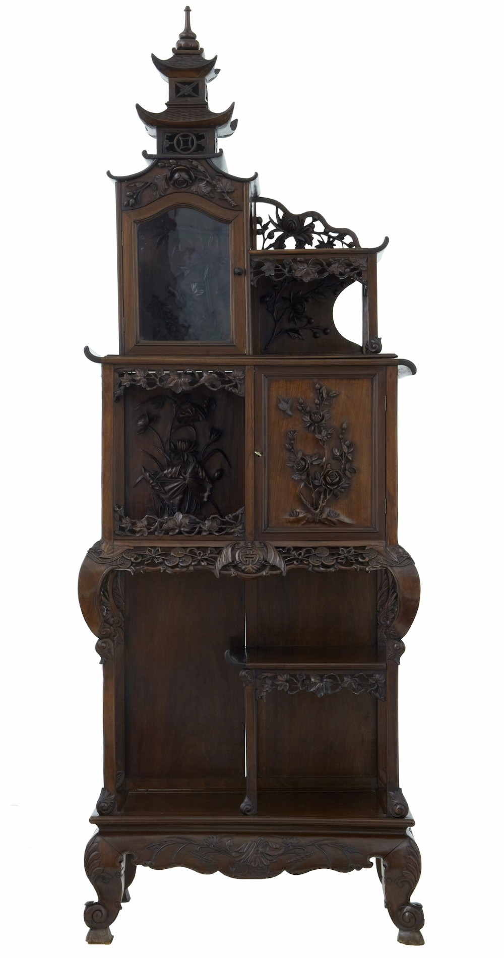 Late 19th century carved hardwood chinese pagoda cabinet for Carved kitchen cabinets