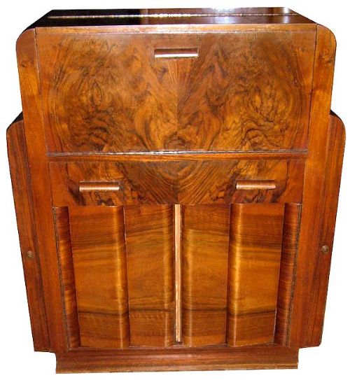 1930s art deco burl walnut bureau 386014. Black Bedroom Furniture Sets. Home Design Ideas