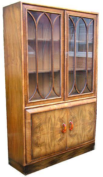 art deco walnut bookcase
