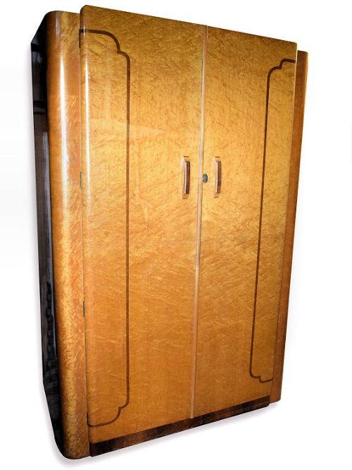 1930s Wardrobes: 1930s Art Deco Maple Double Wardrobe