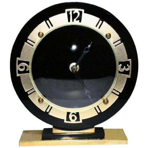 art deco english glass mantle clock