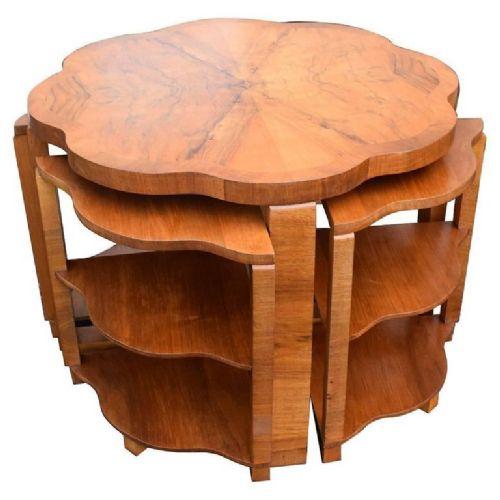art deco walnut quintetto nest of tables 1930