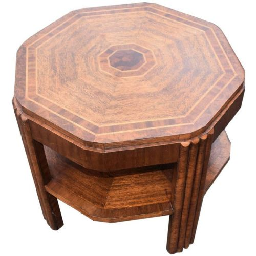 art deco walnut and oak book table