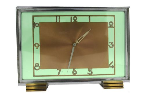 art deco modernist 8 day green glass clock circa 1930's