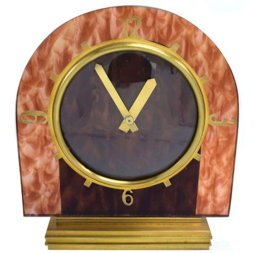 art deco modernist eight day mantle clock faux tortoise shell circa 1930's