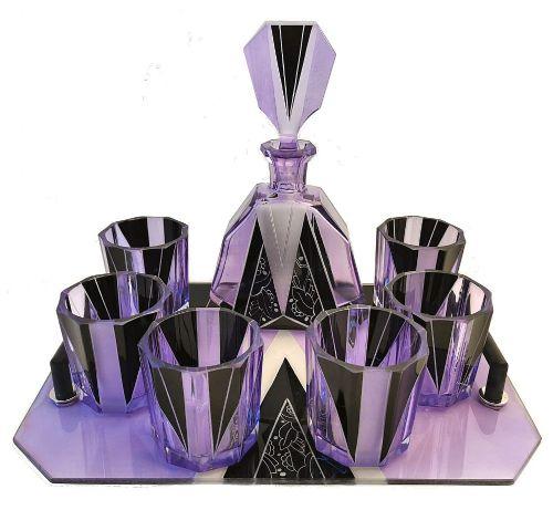 1930s art deco czech glass enamel whisky decanter set