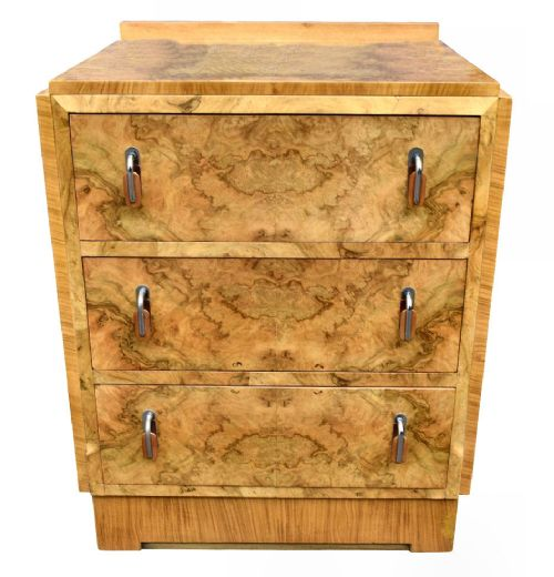 art deco bleached blonde walnut chest of drawers c1930
