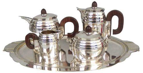 art deco goldsmith silverplated tea and coffee service c1930