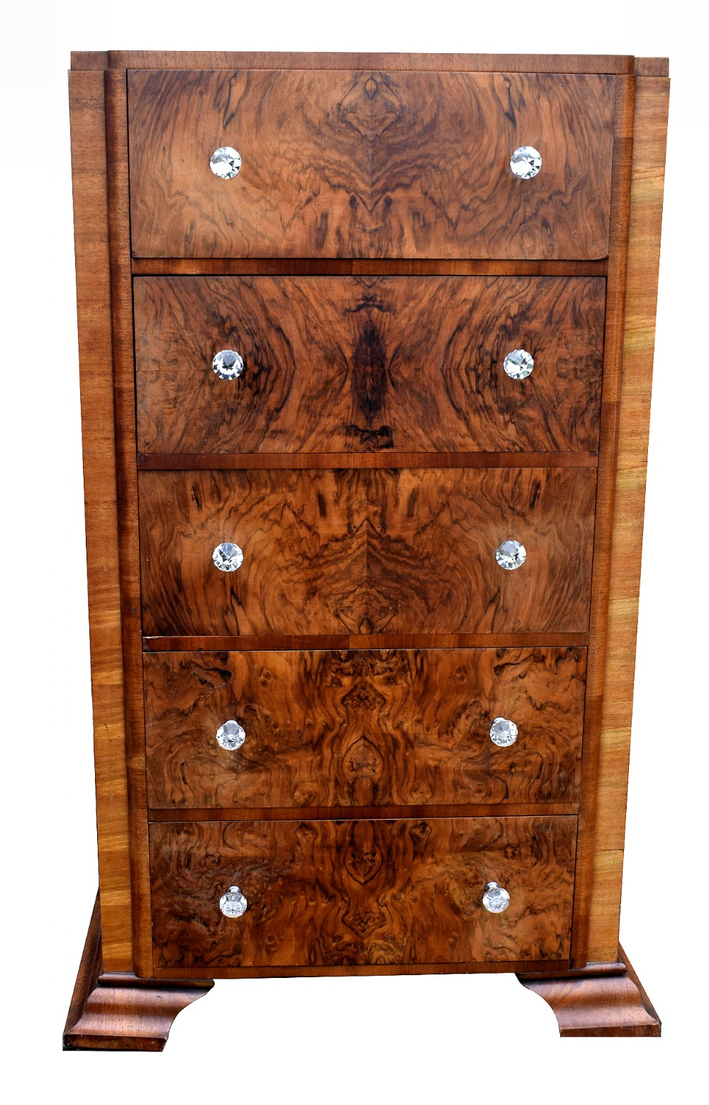 art deco walnut chest of five drawers