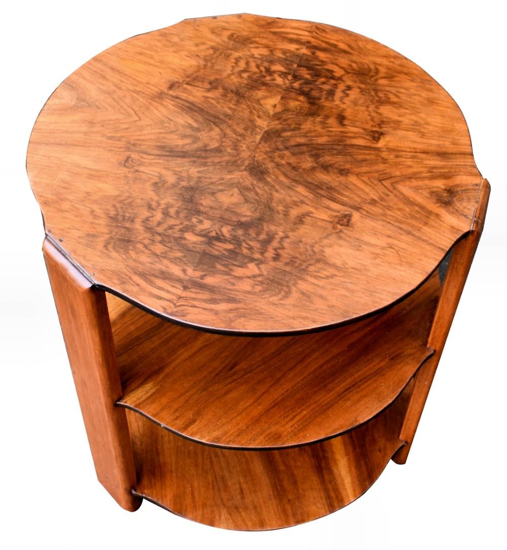 art deco tiered walnut coffee table