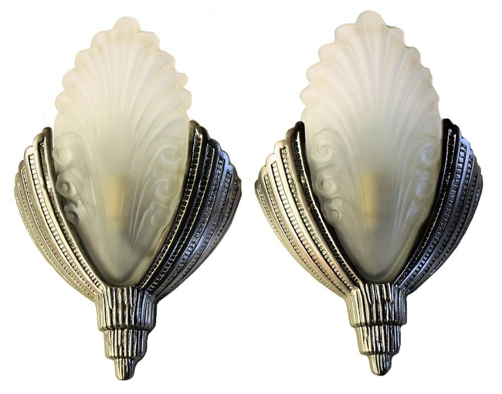 matching pair of art deco wall lights 516641 sellingantiques co uk
