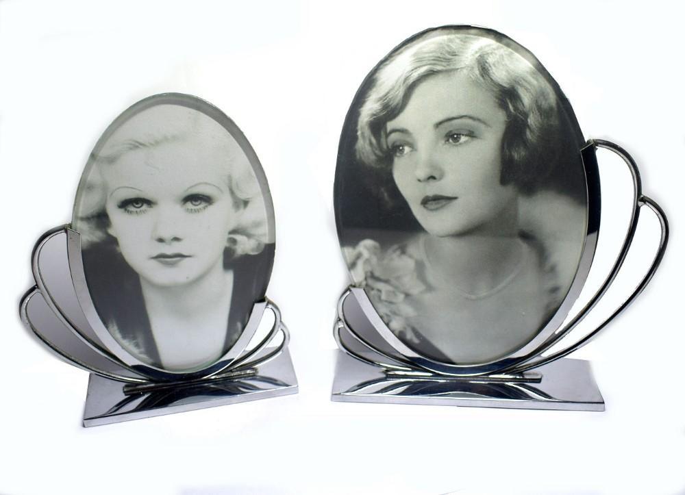 pair of matching 1930's art deco chrome picture frames