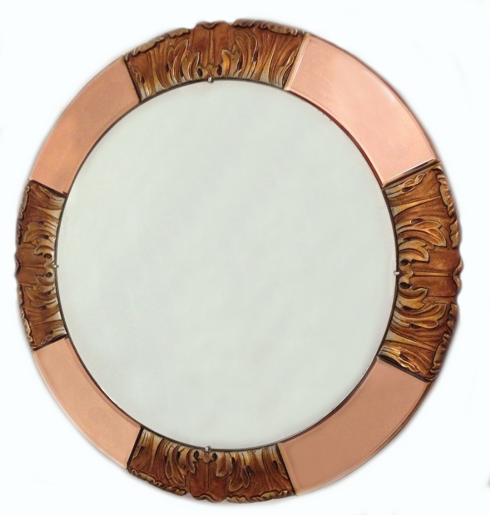 1930 S Art Deco Round Rose Tinted Bevelled Edge Mirror