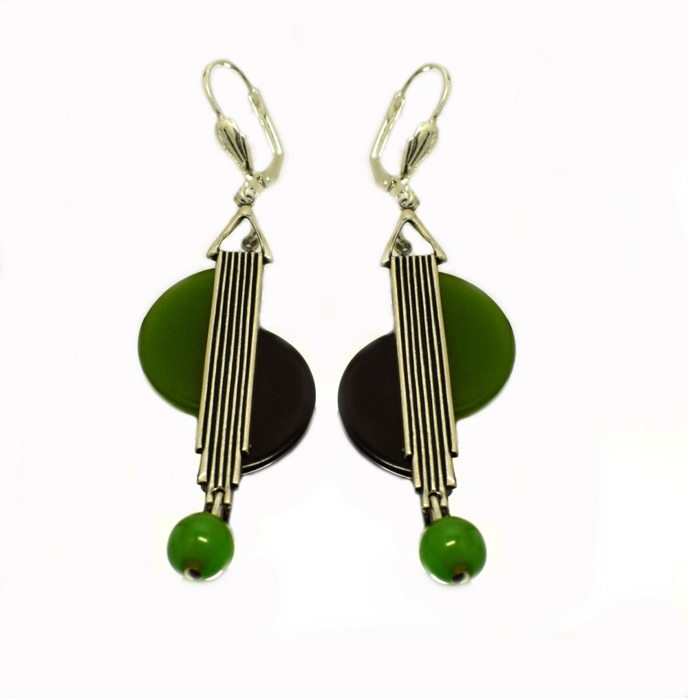 art deco modernist 1930's drop earrings