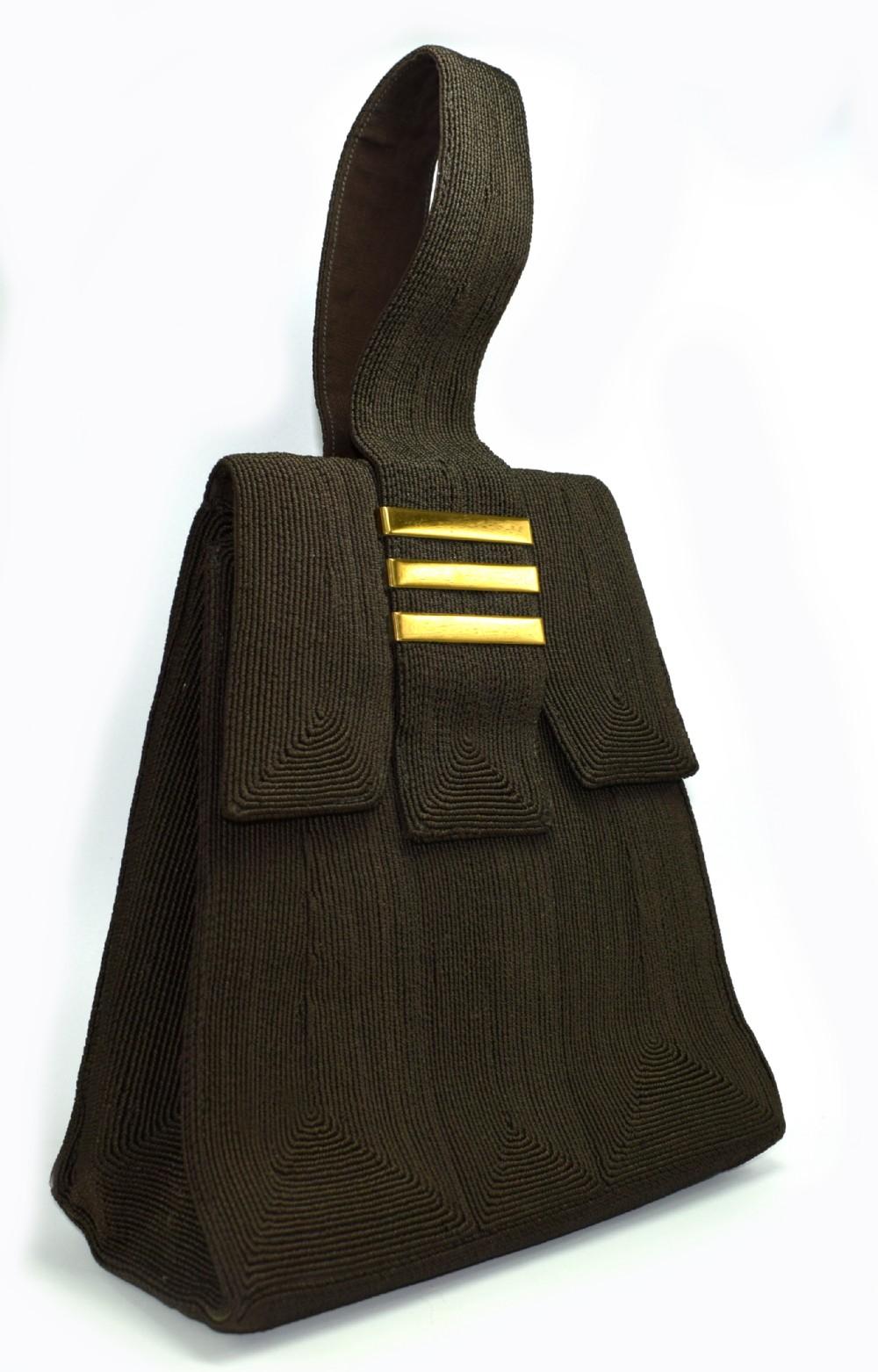 art deco brown genuine cord ladies handbag