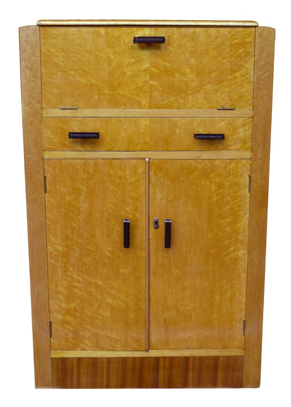 art deco blonde birdseye maple cocktail cabinet c1930's