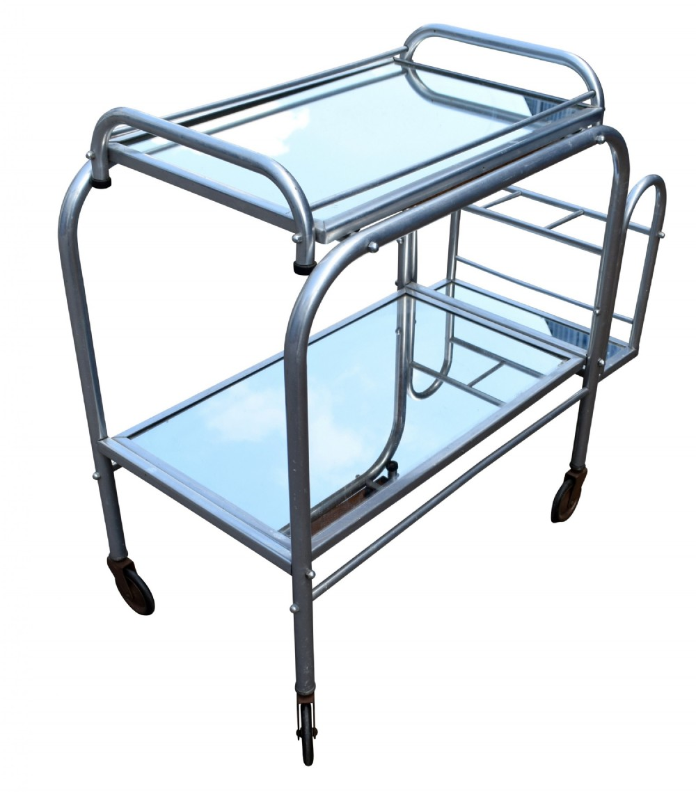 high style french 1930's art deco chrome trolley