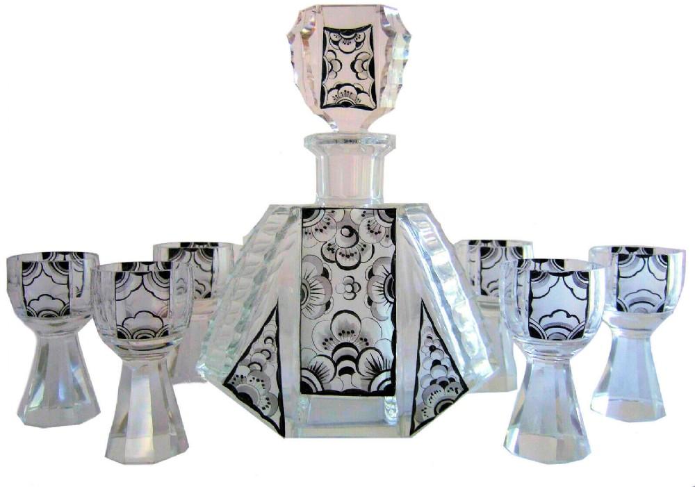 art deco czech geometric crystal glass decanter set by karel palda c1930's