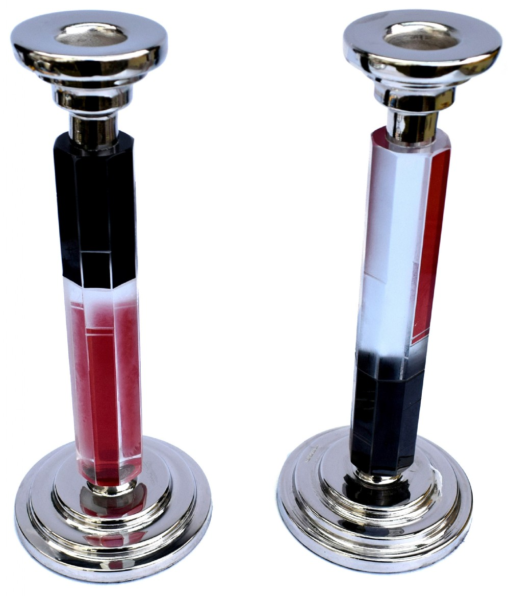 art deco matching pair of nickelsilver glass candlesticks c1930