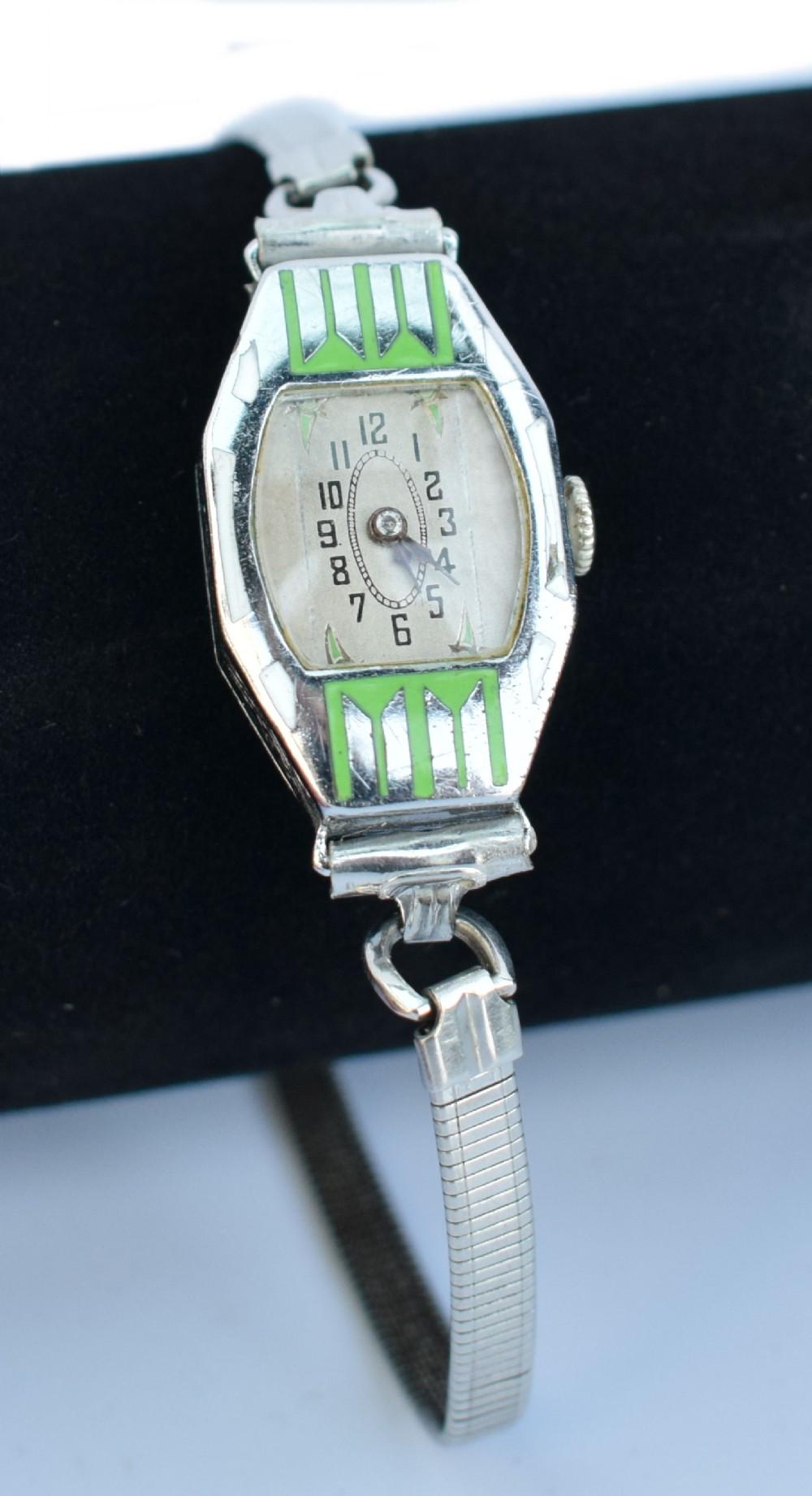 art deco ladies chrome enamel manual wrist watch c1930