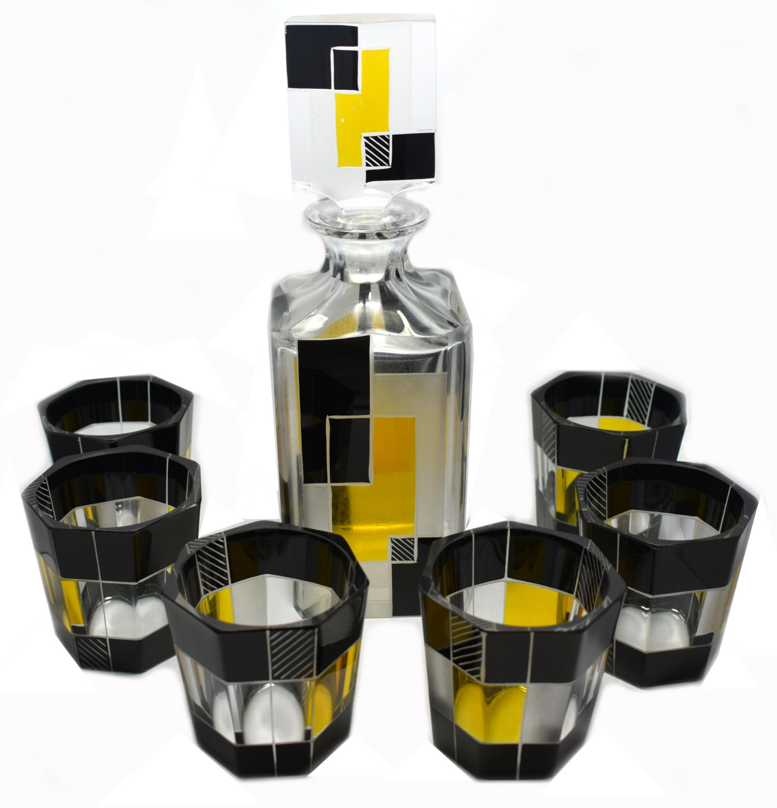 art deco czech glass whisky decanter set