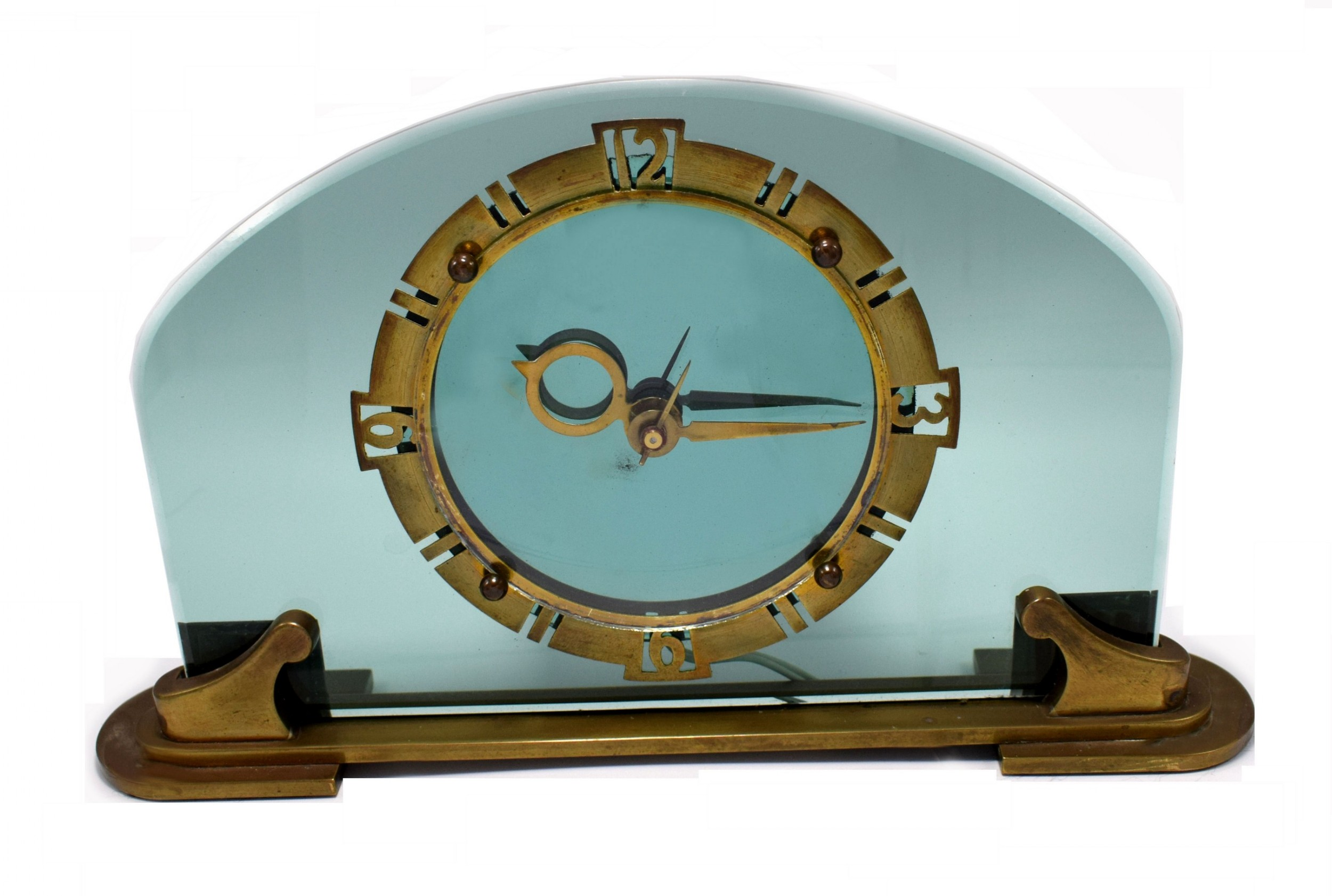 rare and stunning bem ltd art deco glass brass electric mantle clock