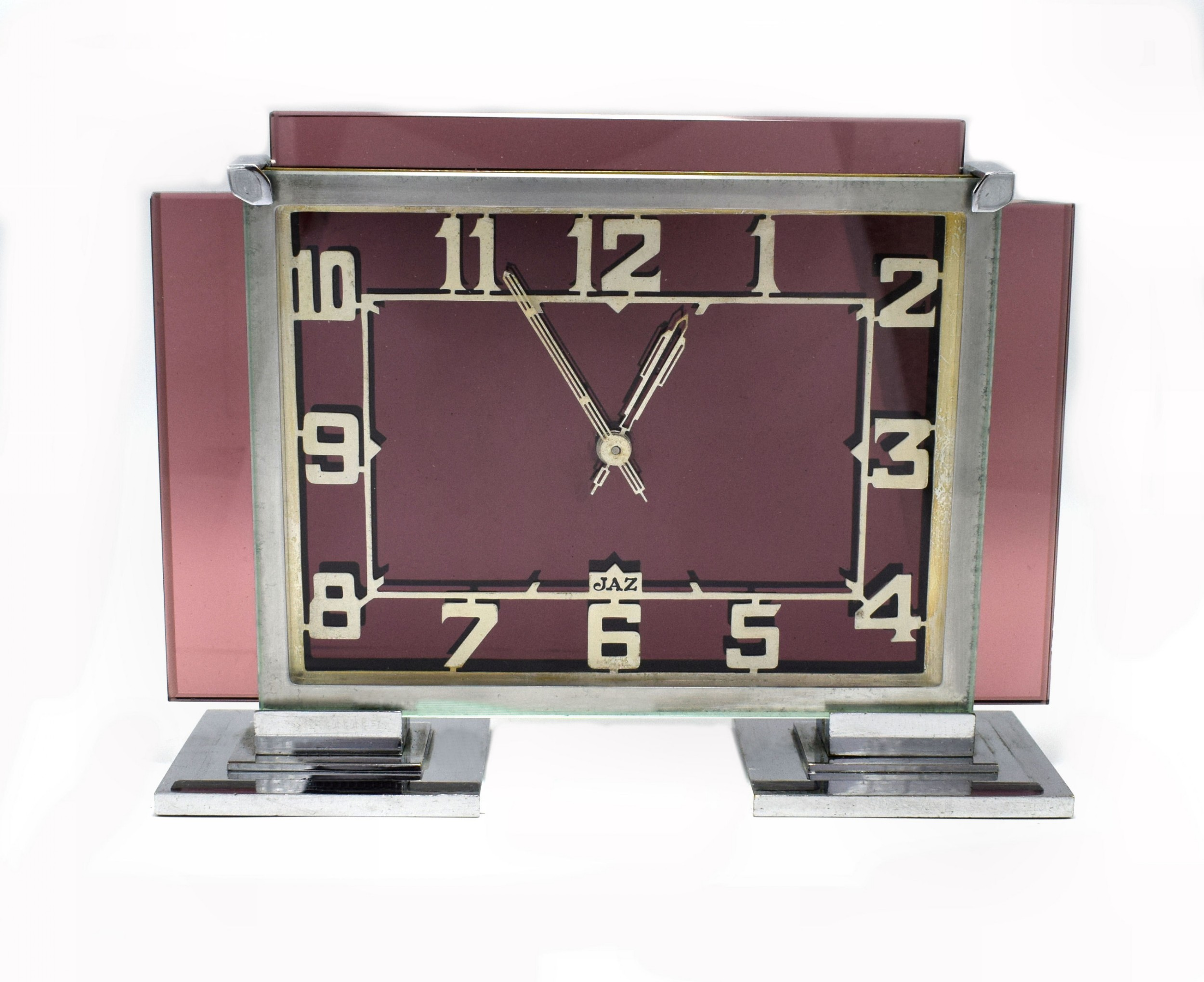 large and rare 1930s art deco french pink glass and chrome clock by jaz