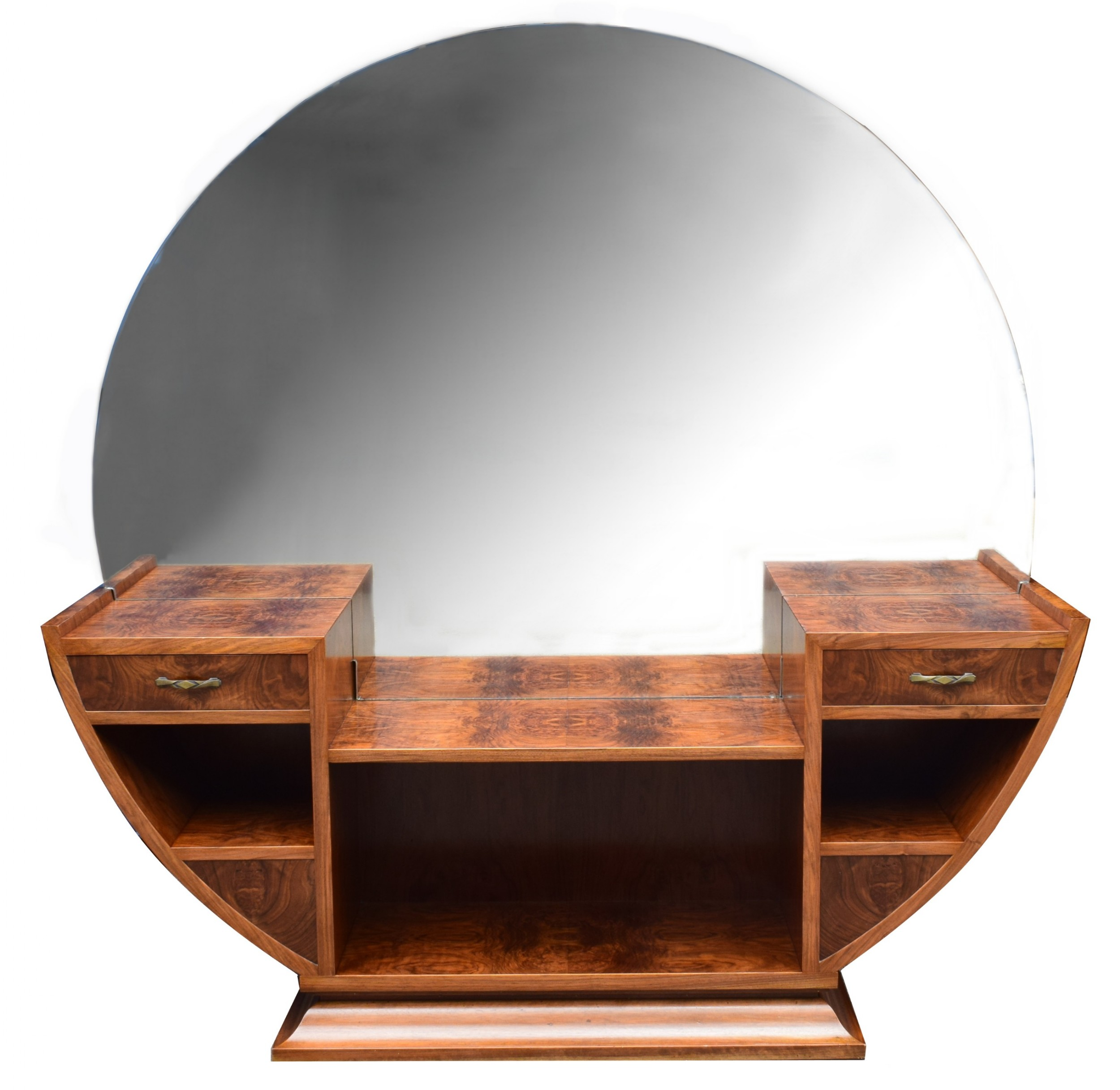 large circular art deco walnut dressing table circa 1930