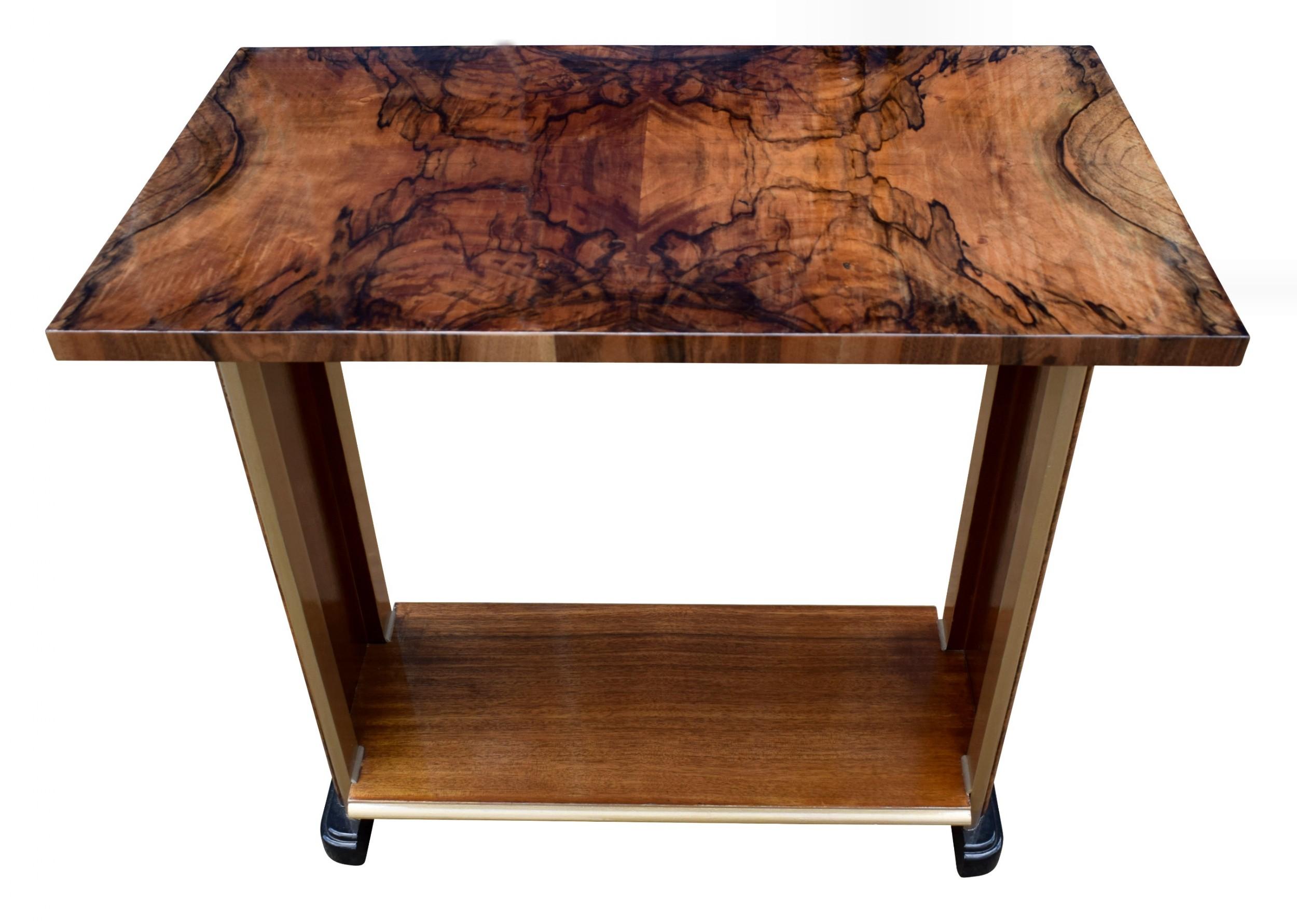 art deco heavily figured walnut console table circa 1930
