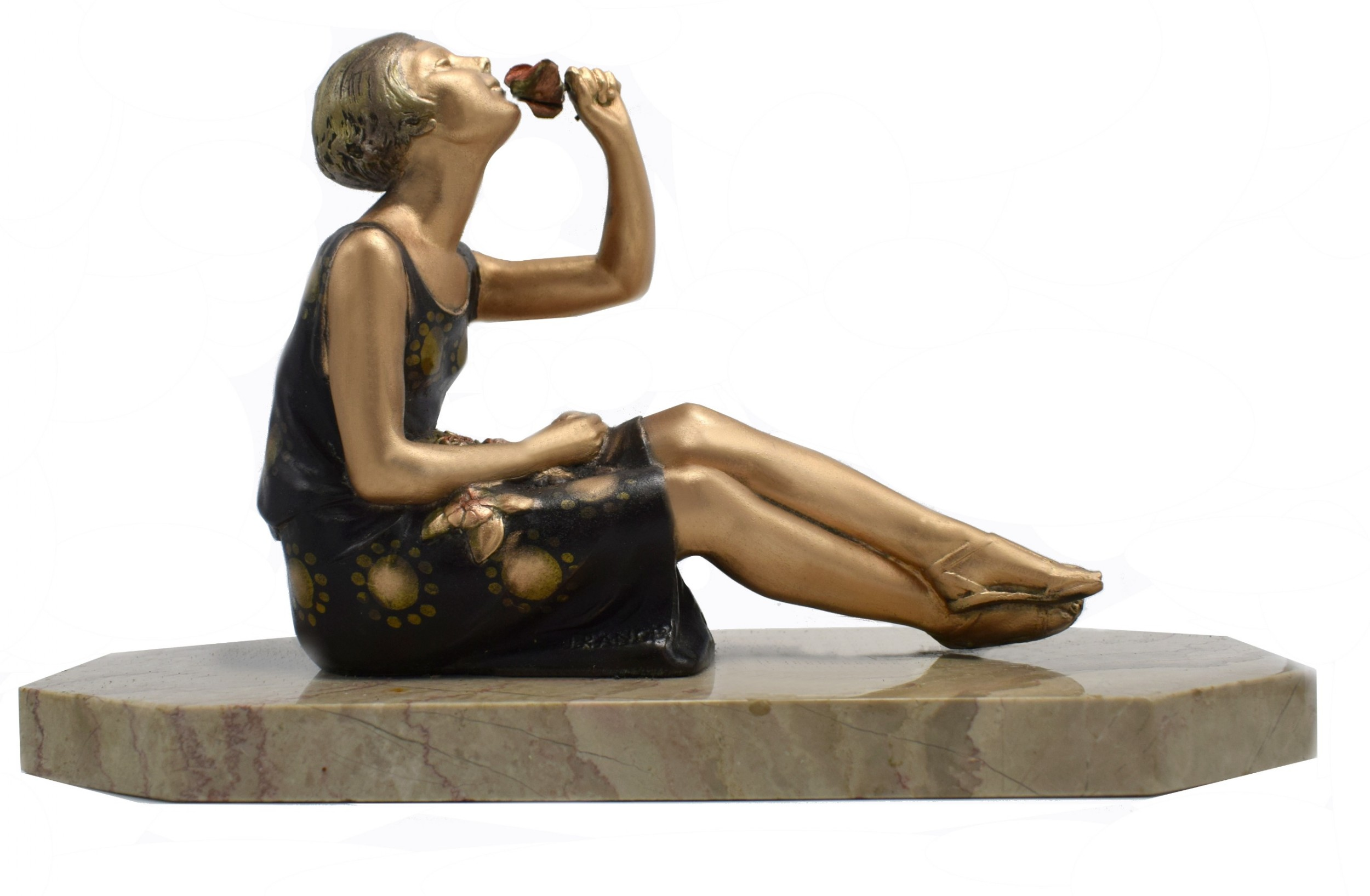 1930's art deco spelter figure 'girl with roses'