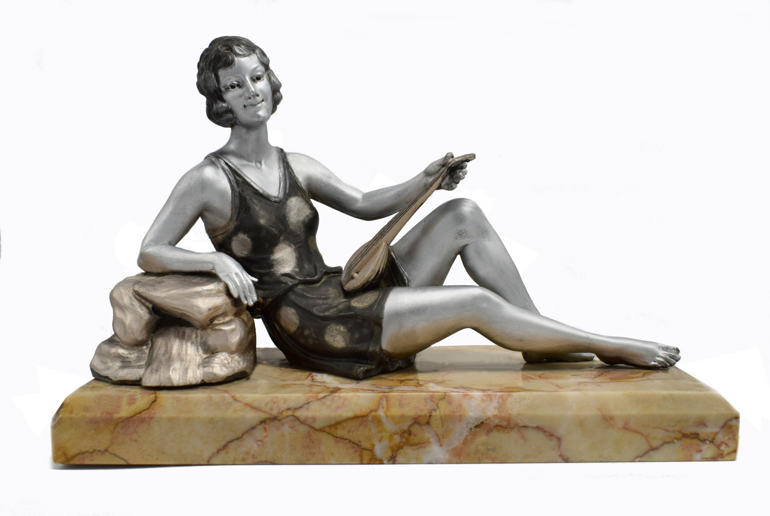 1930's art deco spelter figure 'girl with lute' by balleste