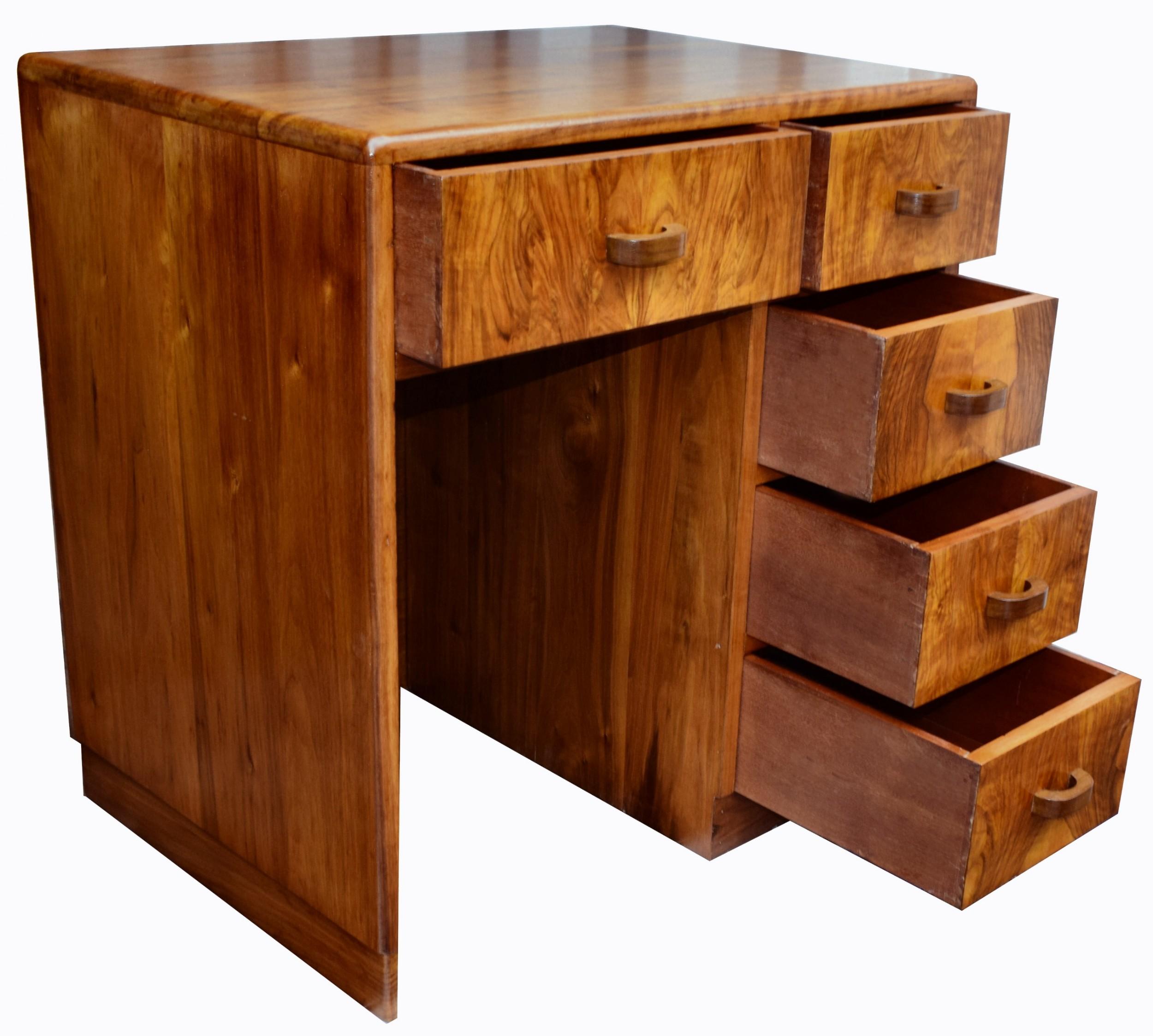 art deco compact walnut writing desk 1930's