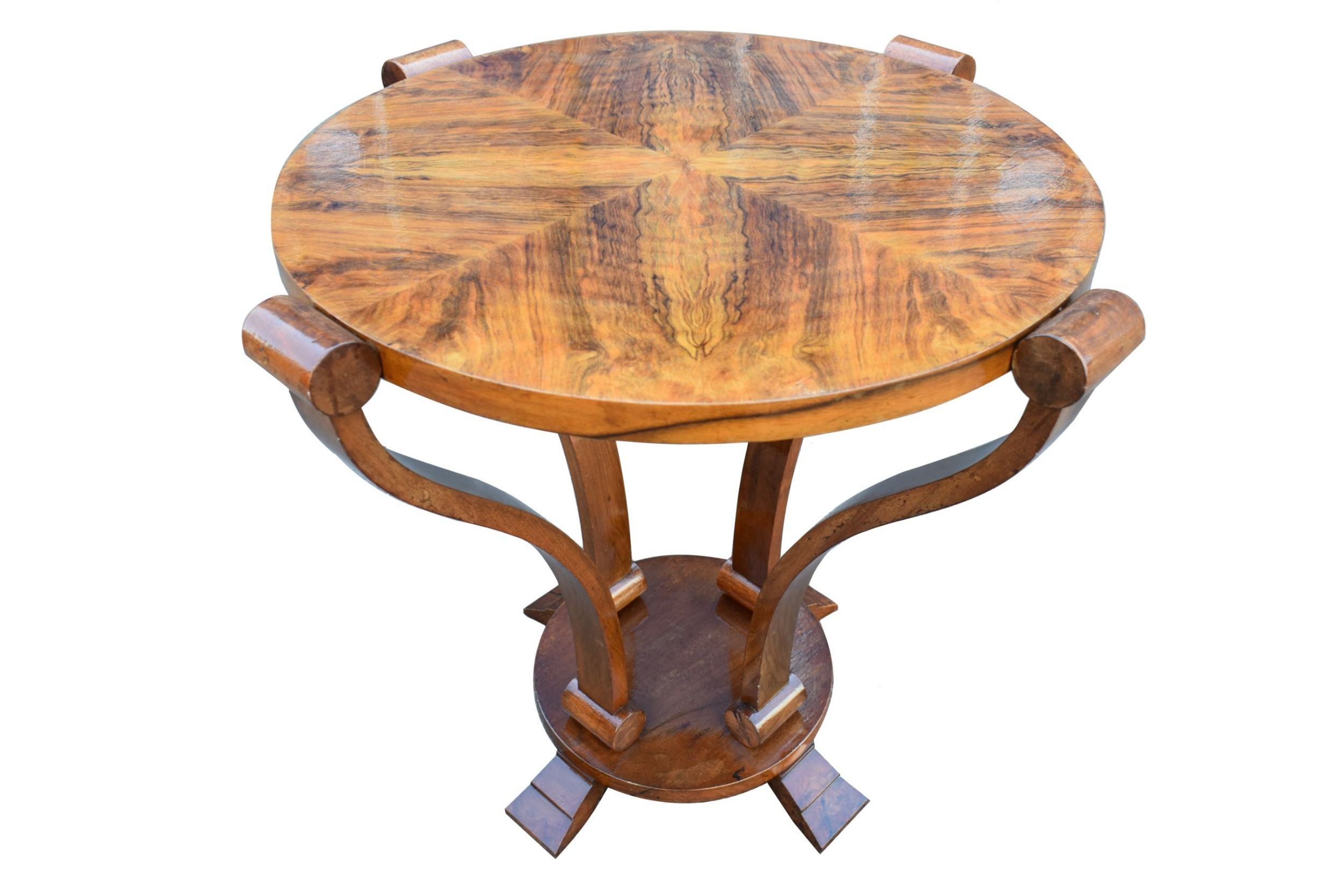 art deco twotier centre table in figured walnut circa 1930