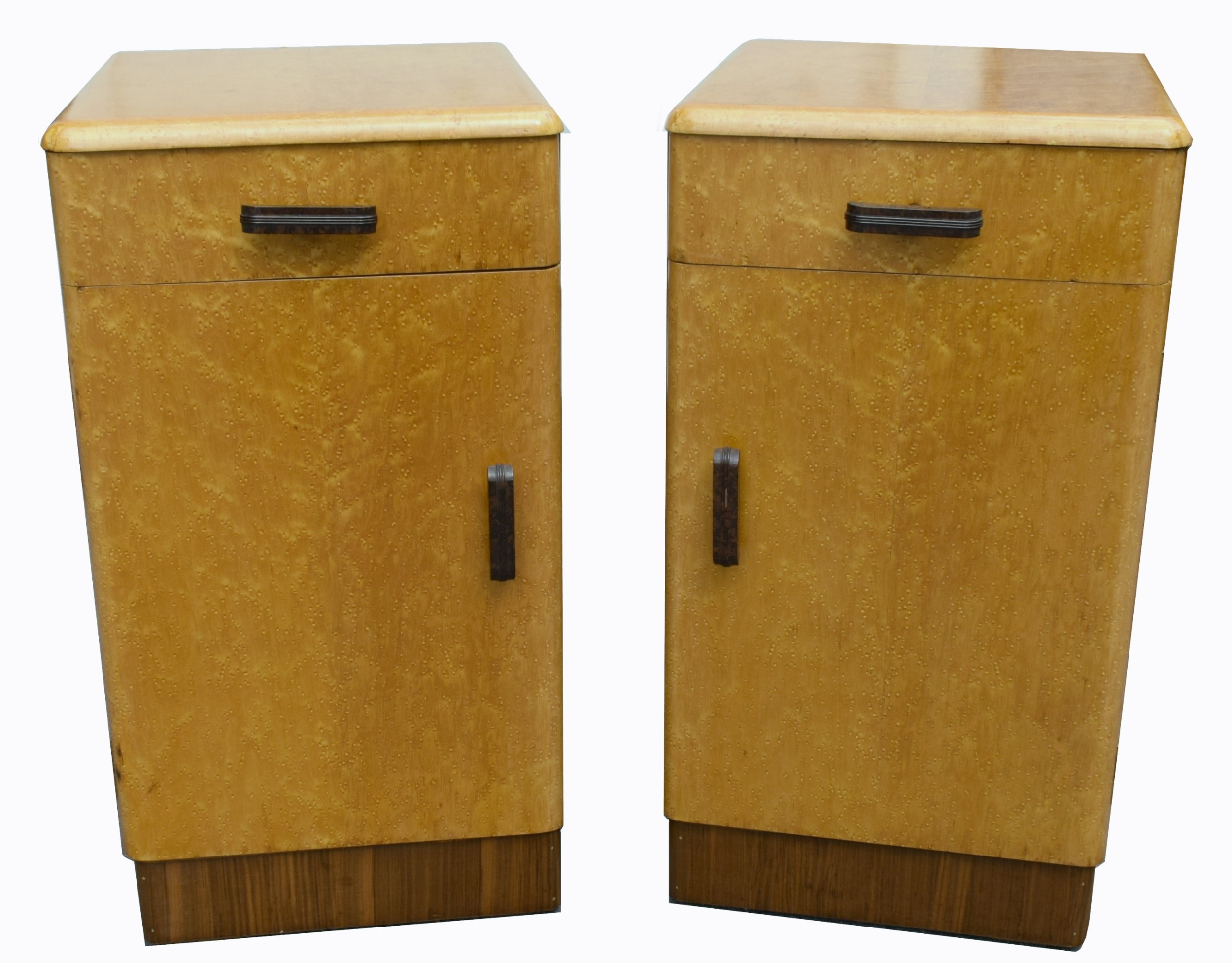 pair of matching 1930s art deco bedside cabinets in blonde maple