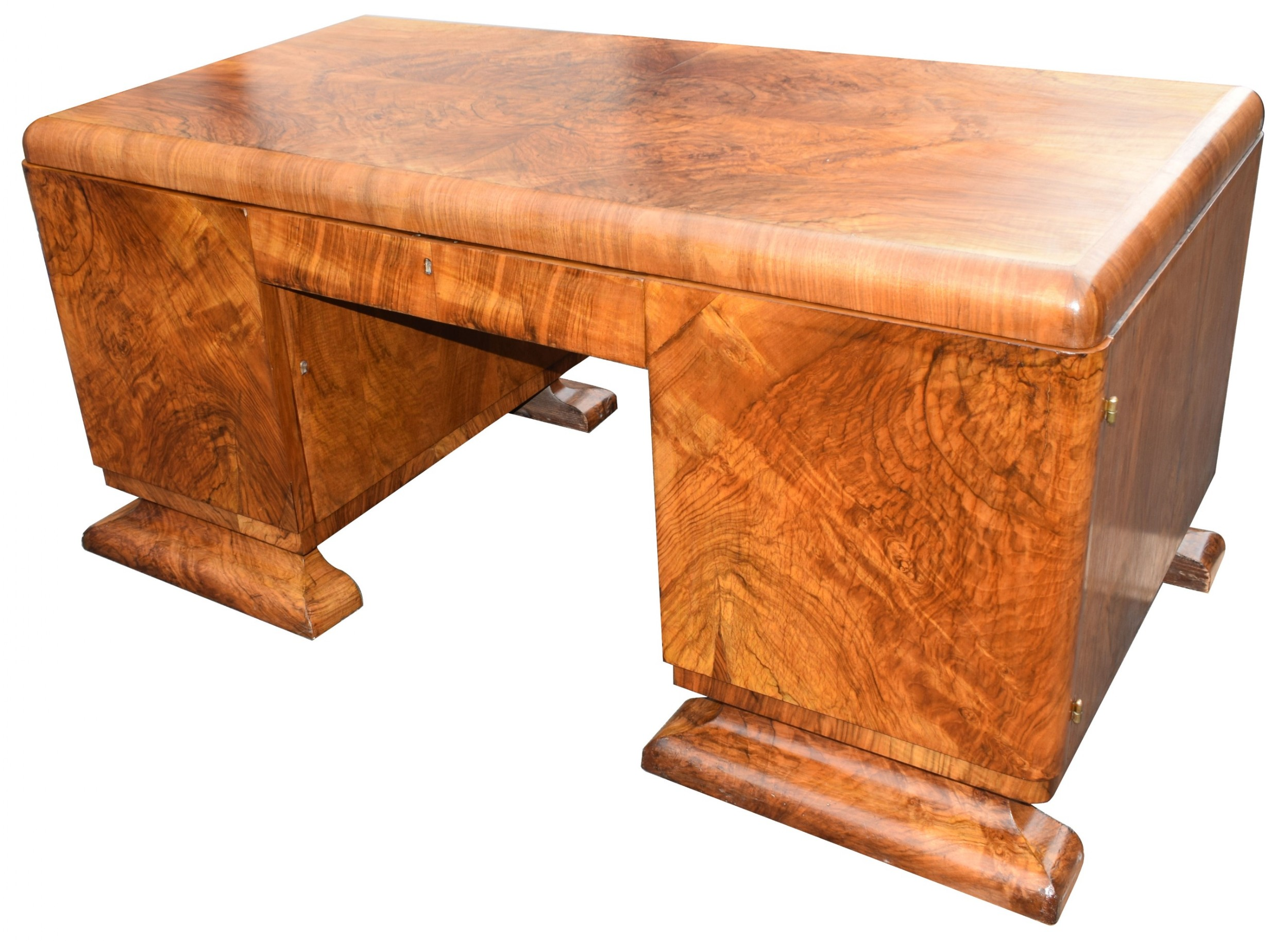 substantial art deco walnut desk circa 1935