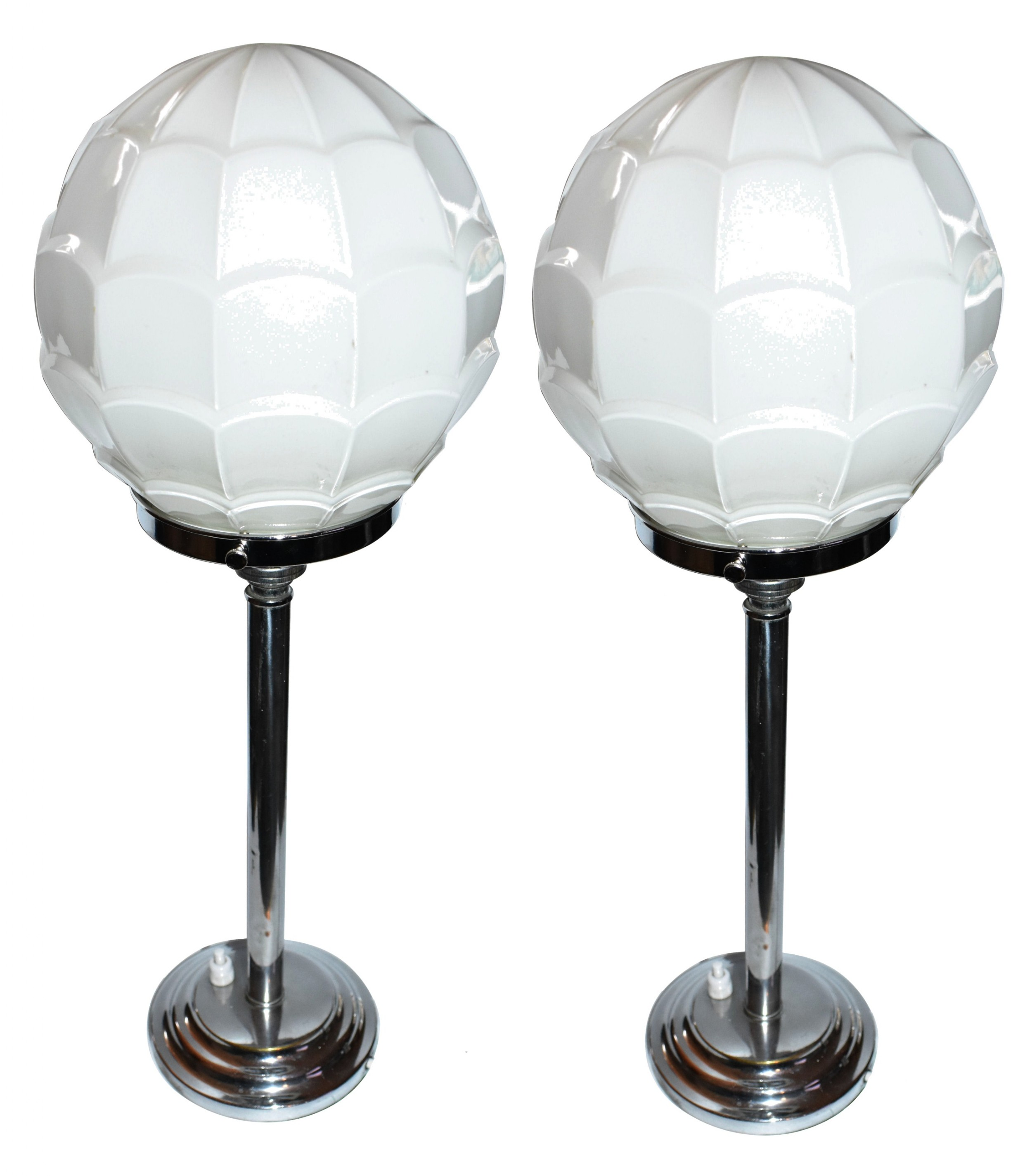 matching pair of art deco chrome table lamps