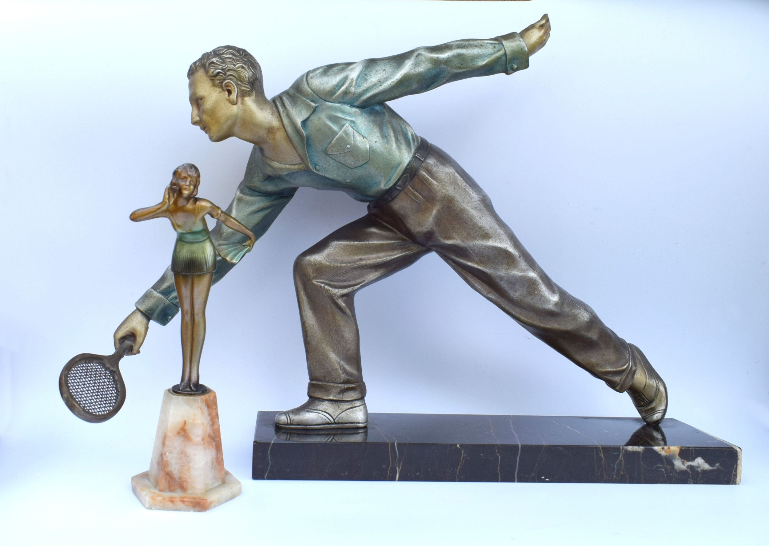 huge art deco male figure tennis player french c1930