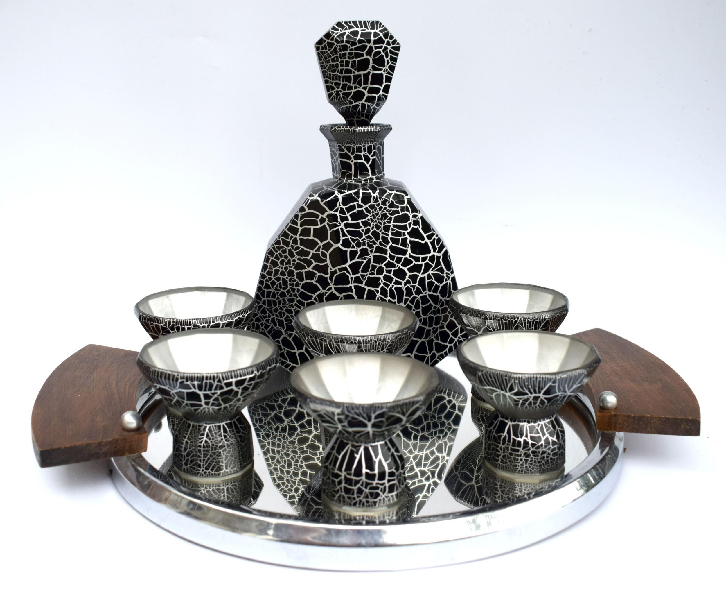 art deco decanter set by mosey czech c1930