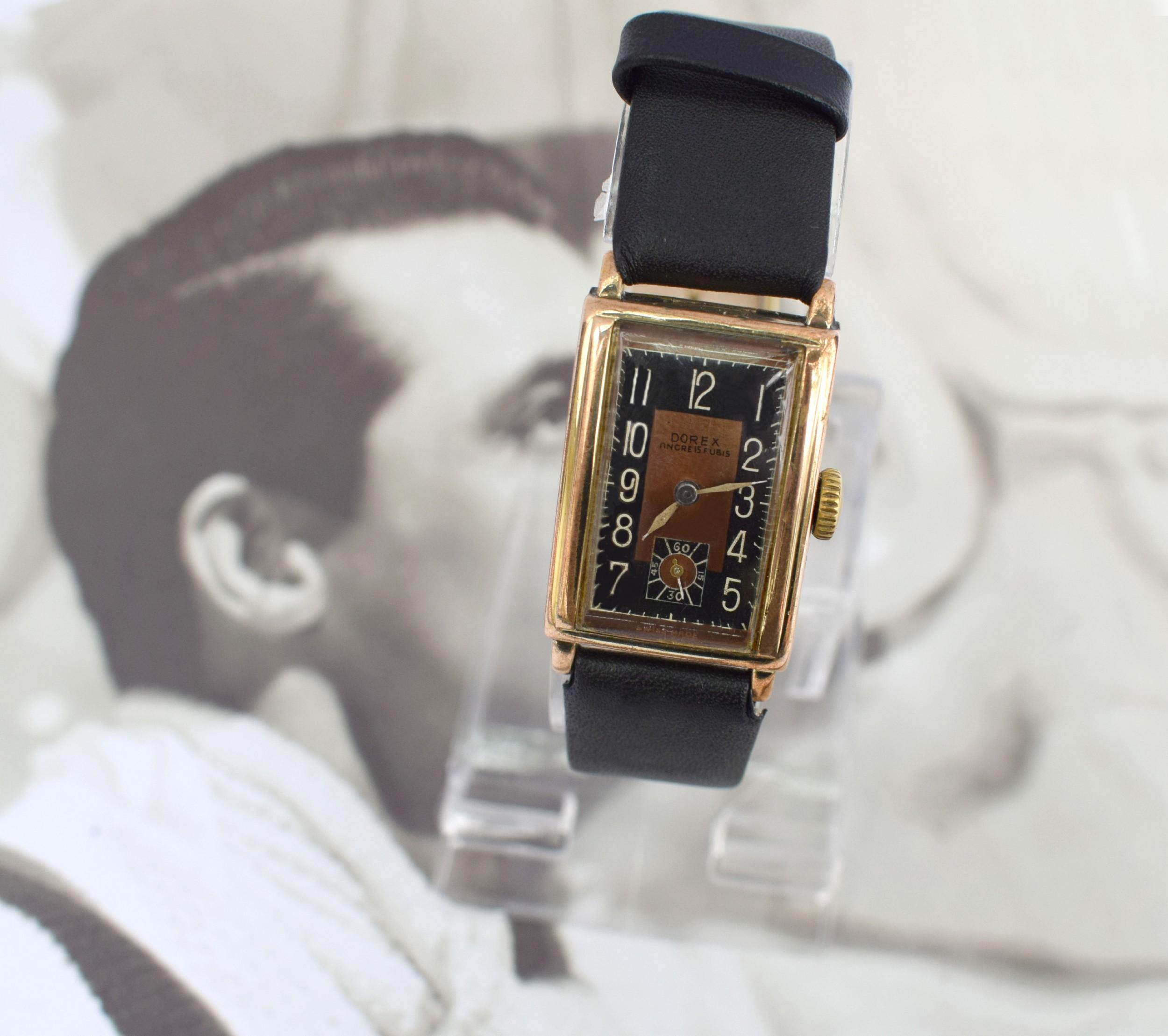 art deco gents gold plated wristwatch by dorex swiss c1930