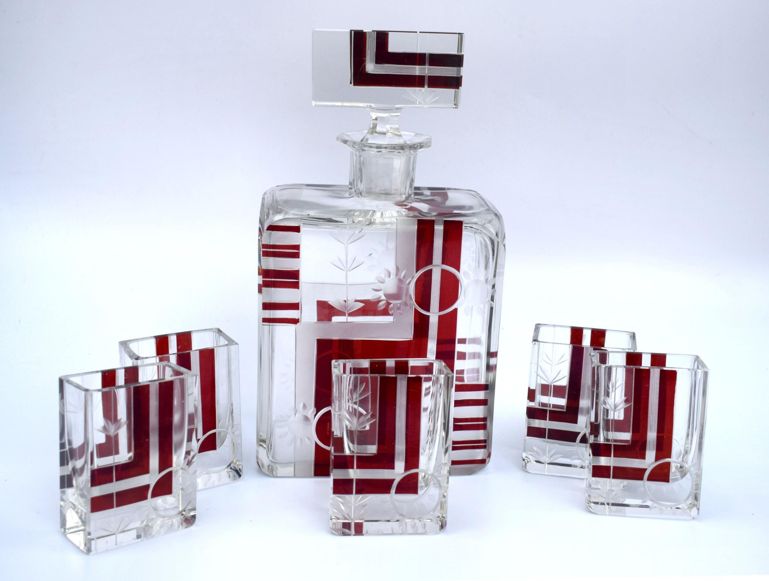 art deco 1930's czech geometric glass decanter set