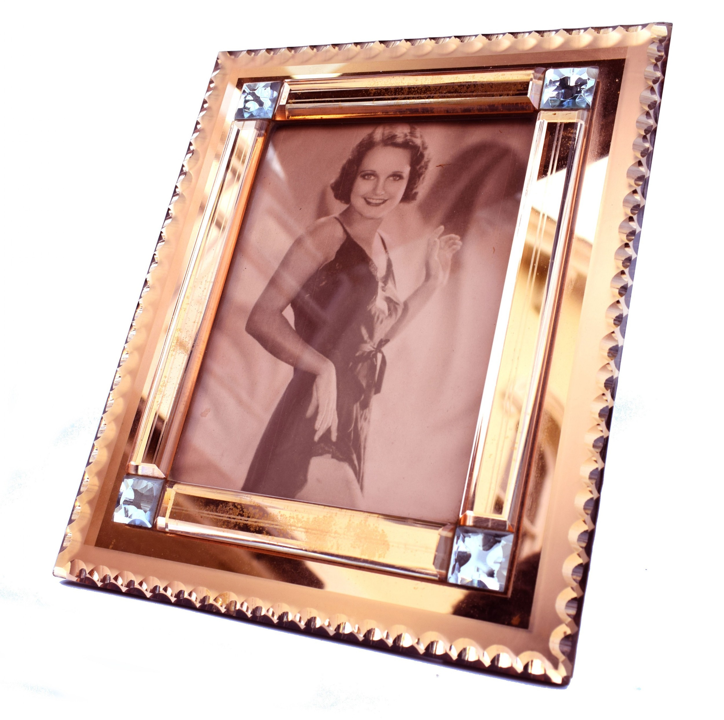 art deco original peach mirrored bevelled glass picture frame c1930