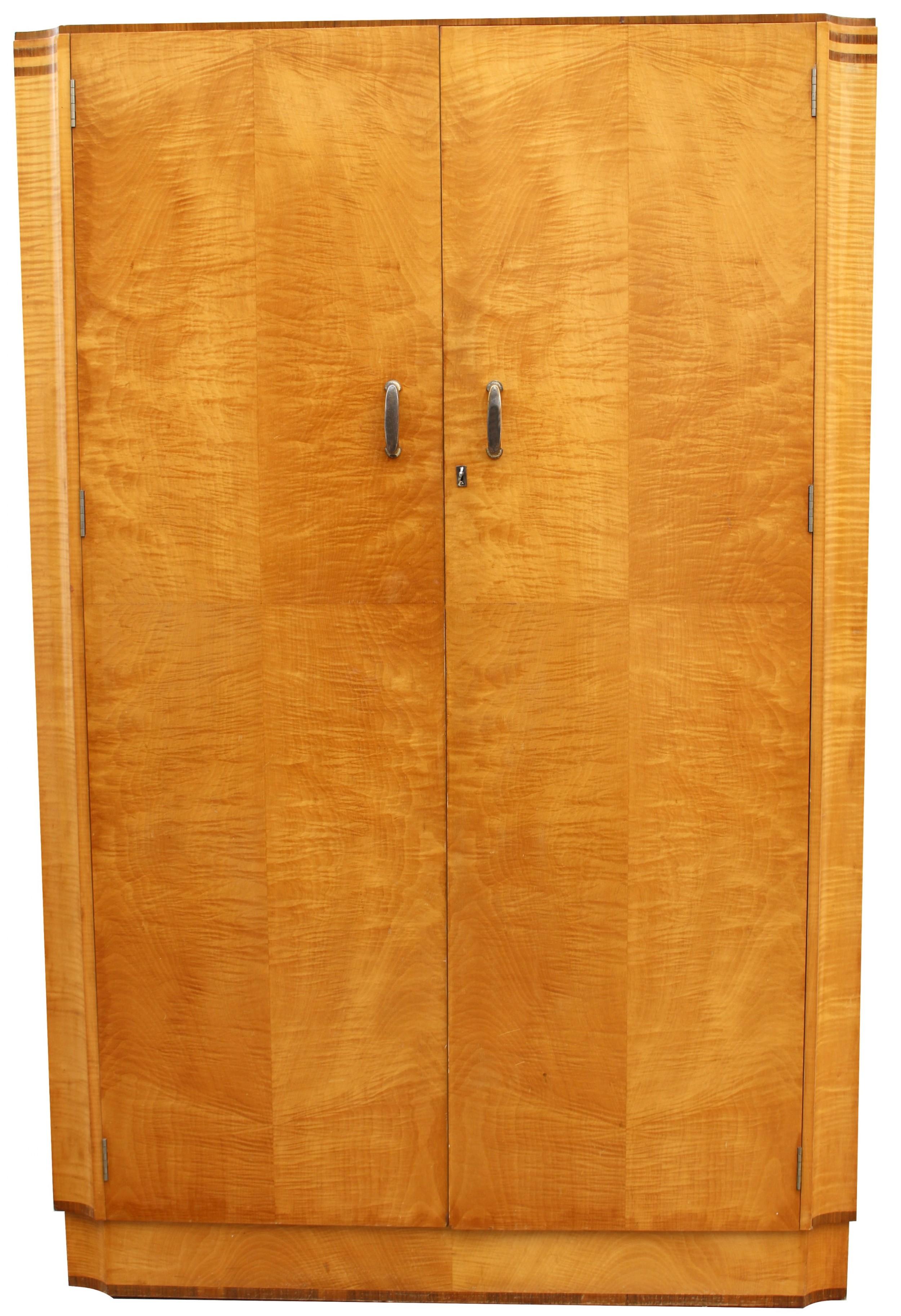art deco blonde tiger grain birch double wardrobe c1930