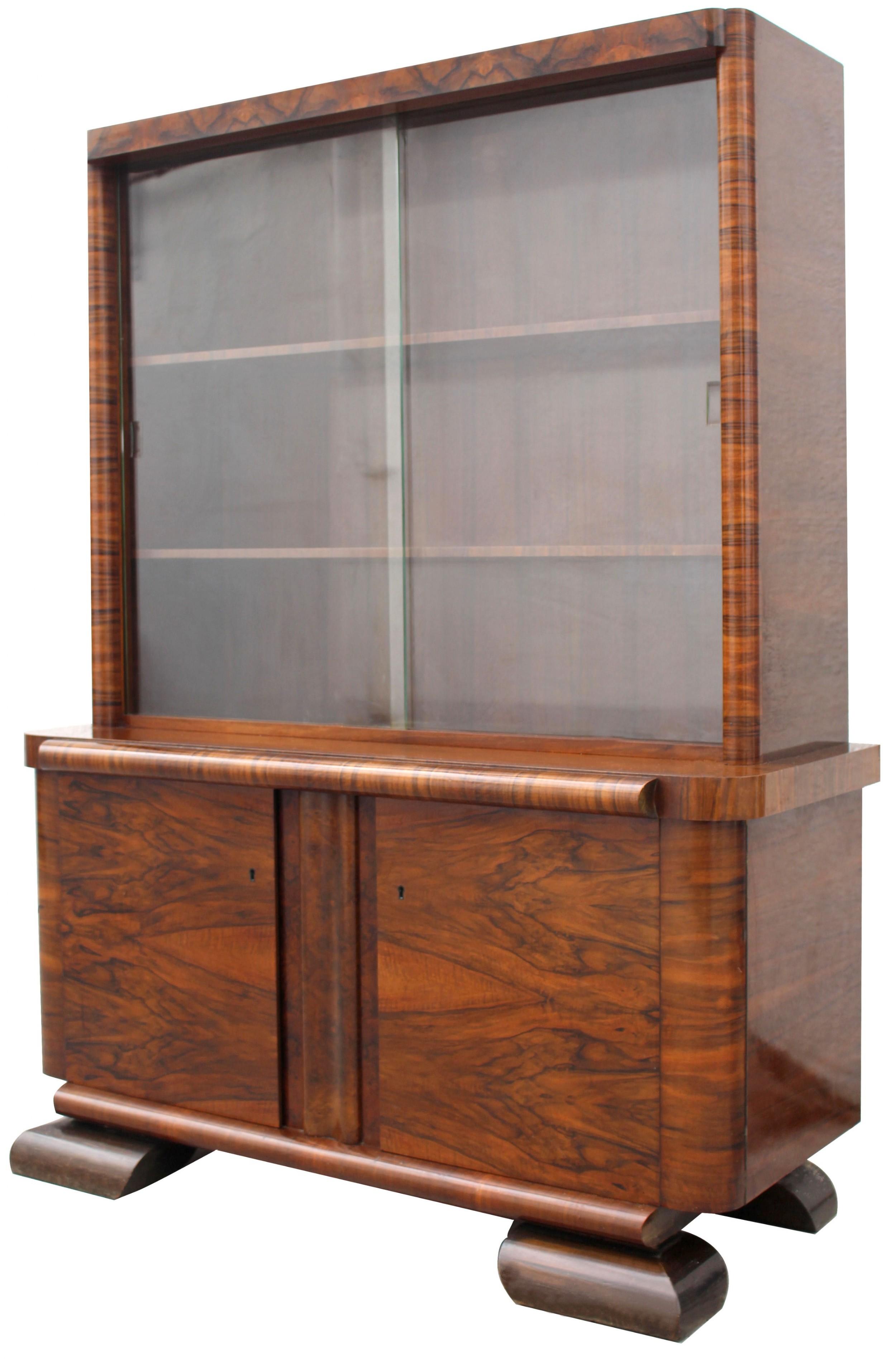 art deco figured walnut bookcase circa 1930