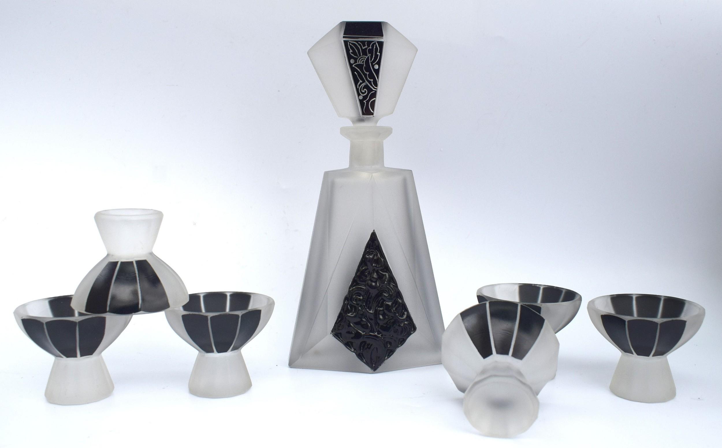 art deco glass and enamel decanter set circa 1930